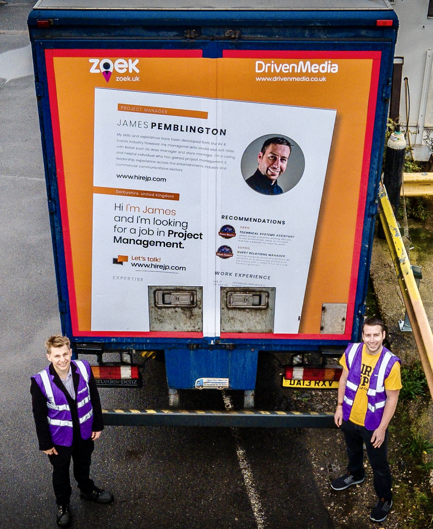 Ed Hollands & James Pemblington alongside James' giant CV…..