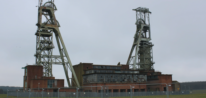 The derelict Clipstone Colliery coal mine in Nottinghamshire, England